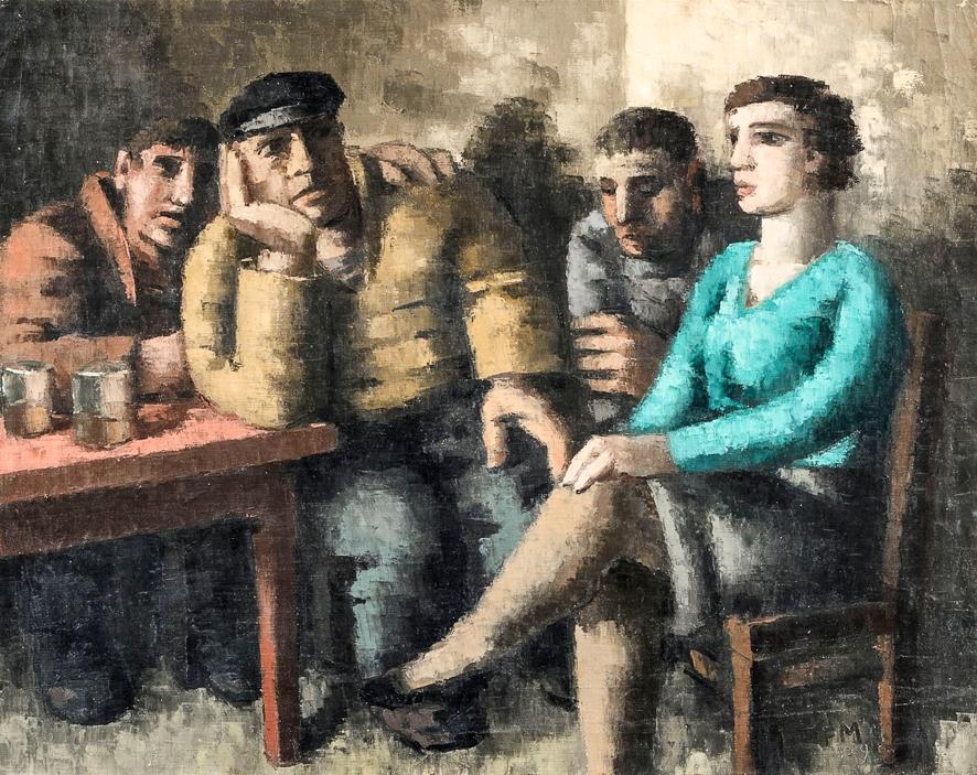 1929_Trois marins et une femme dans un estaminet