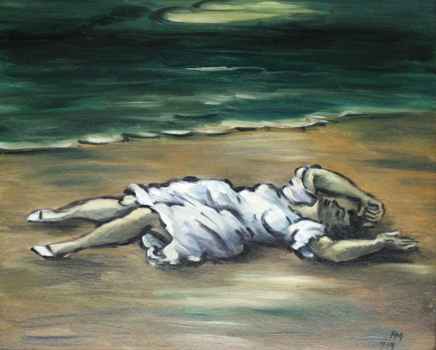 1939_Femme en blanc couchee sur la plage