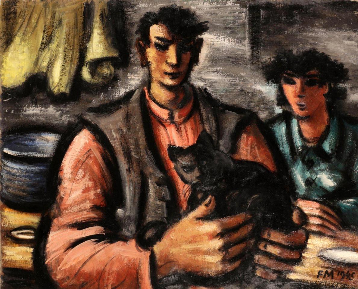 1945_Couple de paysans et chat