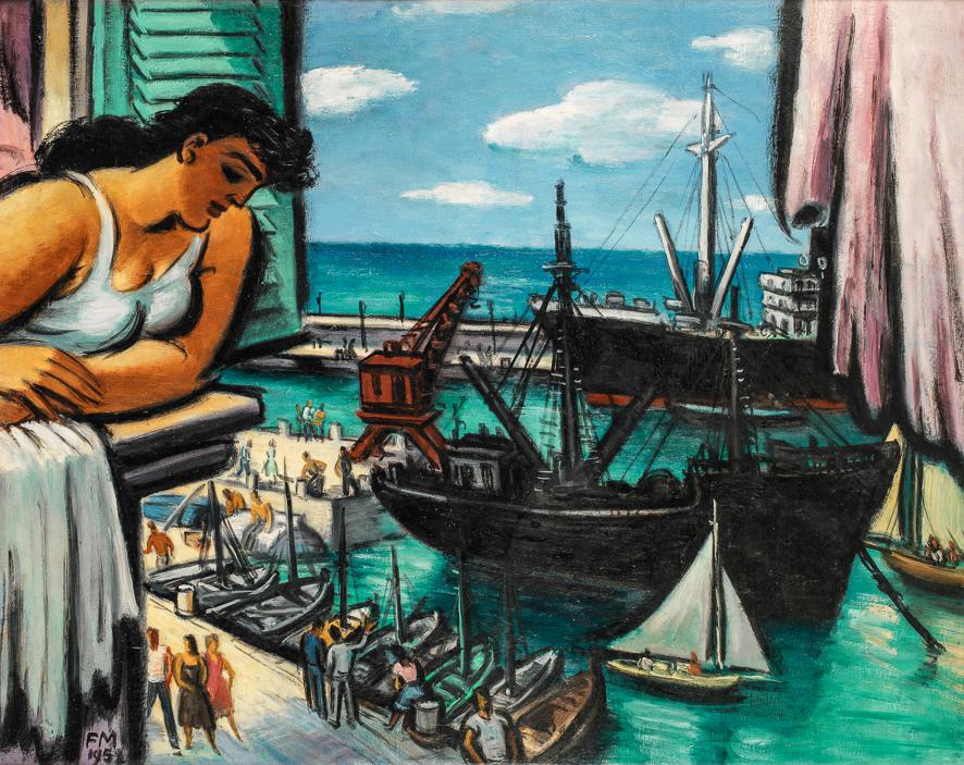 1952_Nice, femme regardant le port
